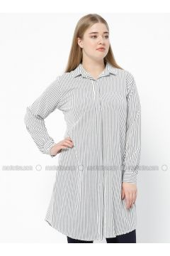 Navy Blue - Stripe - Point Collar - Plus Size Tunic - SUEM(110315204)