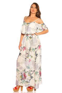 Off Shoulder Maxi Sommerkleid mit Volant und Flower Print(111127863)