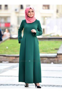 Green - Crew neck - Viscose - Dresses - Nurgül Çakır(110335040)