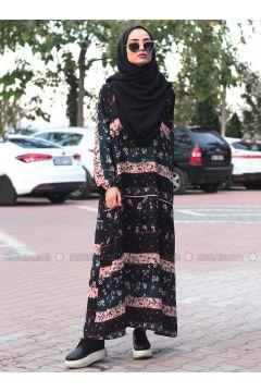 Black - Multi - Crew neck - Unlined - Dresses - Melek Aydın(110315481)