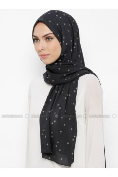 Black - Ecru - Printed - Shawl - Qubbe(110317367)