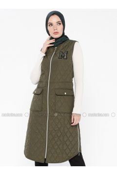 Khaki - Fully Lined - Crew neck - Vest - MY MOOD(110339229)
