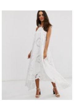 ASOS EDITION - Swing-Kleid mit Neckholderträger und Durchbrucharbeit - Beige(94963223)