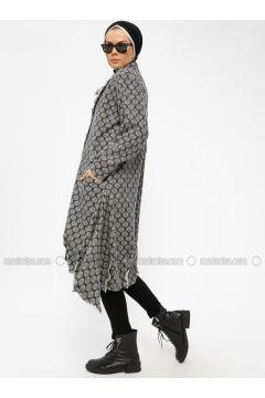 Gray - Unlined - Round Collar -- Coat - Miorespiro(110335505)