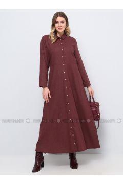 Maroon - Unlined - Point Collar - Cotton - Plus Size Dress - Alia(110319504)