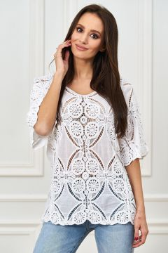 Boho Cotton Shirt transparent mit Häkelspitze(113750528)