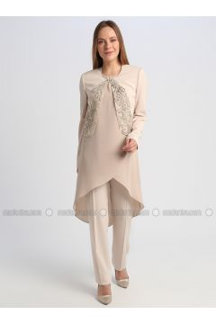 Fully Lined - Beige - Evening Suit - Le Mirage(110337554)