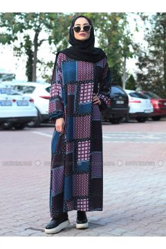 Navy Blue - Multi - Crew neck - Unlined - Dresses - Melek Aydın(110315477)