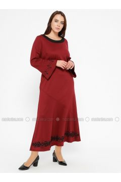 Maroon - Unlined - Boat neck - Plus Size Dress - CARİNA(110320120)