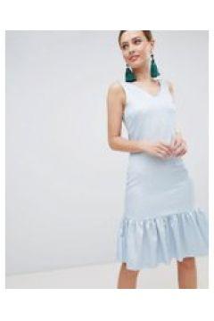 Closet London - Ärmelloses Kleid mit Stufensaum - Blau(84385800)