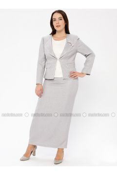Gray - Shawl Collar - Fully Lined - Plus Size Evening Suit - Güzey(110337581)