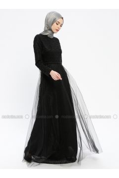 Black - Fully Lined - Crew neck - Muslim Evening Dress - Robir(110320667)