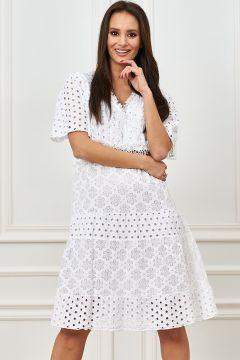 Kurzarm Boho Baumwoll Midi Kleid mit V-Neck und Flower Musterung(113750540)
