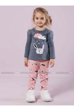 Gray - Crew neck - Multi - Kids Pijamas - Siyah inci(100960628)
