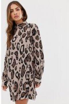 River Island - Hochgeschlossenes Swing-Kleid mit Leopardenmuster - Mehrfarbig(93640777)