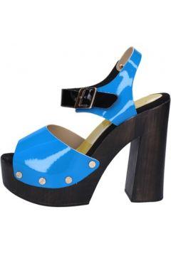 Sandales Suky Brand sandales bleu cuir verni noir AB322(88470048)