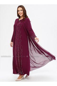 Cherry - Unlined - Crew neck - Muslim Plus Size Evening Dress - Havva Ana(110329996)