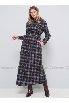 Navy Blue - Plaid - Unlined - Point Collar - Cotton - Plus Size Dress - Alia(110330273)