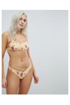 Minkpink - Sundance - Geblümtes Bikinioberteil mit Schnürung - Gelb(94963027)