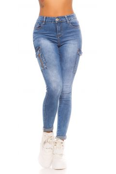 Röhren High Waist Skinny Jeans im Cargo-Style(111127853)