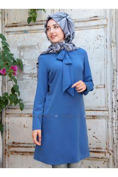 Blue - Polo neck - Tunic - Gamze Özkul(110316559)