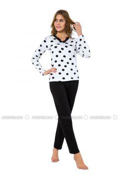 Black - White - Crew neck - Polka Dot - Pyjama - AKBENİZ(110317105)