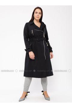 Navy Blue - Fully Lined - Cotton - Plus Size Overcoat - Tekbir(110335703)