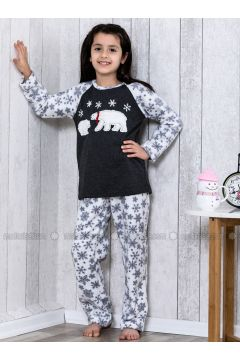 Navy Blue - Crew neck - Multi - Kids Pijamas - Lingabooms(110313133)
