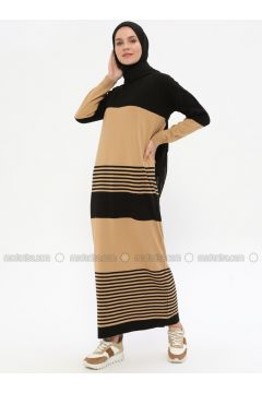 Black - Camel - Stripe - Crew neck - Unlined -- Dresses - Zentoni(110323371)