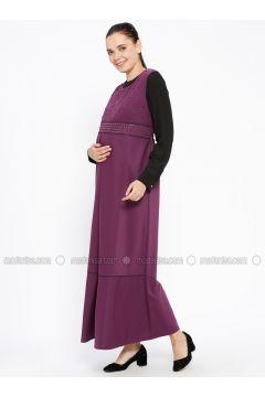 Purple - Crew neck - Unlined - Maternity Dress - Havva Ana(110313991)
