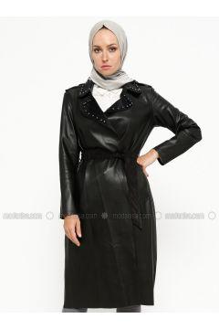Black - Unlined - Shawl Collar - Trench Coat - SUEM(110315254)