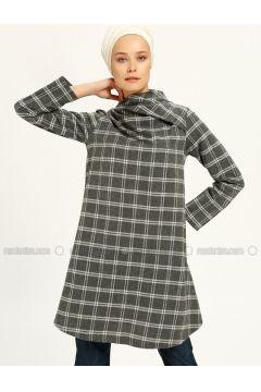 White - Smoke-coloured - Stripe - Polo neck - Tunic - MAKBUSH(110317414)