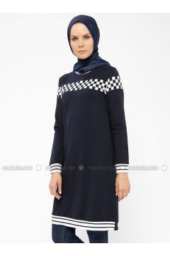 Navy Blue - Crew neck - Tunic - MODAGÜL(110326826)