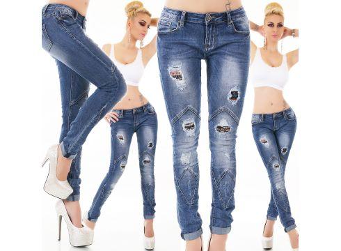 Röhren Jeans Destroyed mit Löcher und Abnähungen(97251840)