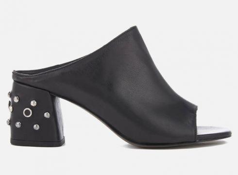 Rebecca Minkoff Women\'s Selene Studs Leather Heeled Mules - Black - UK 3 - Schwarz(50512182)
