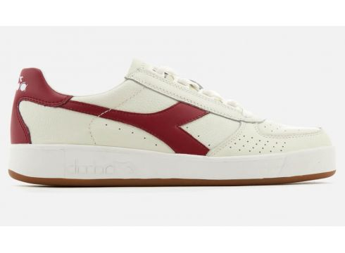 Diadora Men\'s B.Elite L Grained Leather Trainers - White/Tibetan Red - UK 7(78454826)