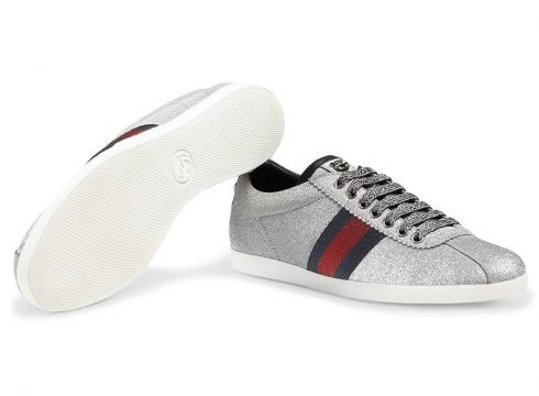 Gucci Glitter Web sneakers with studs - Gris(65966860)