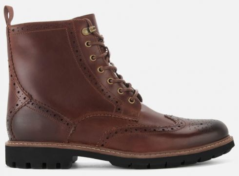 Clarks Men\'s Batcombe Lord Leather Brogue Lace Up Boots - Dark Tan - UK 7 - Tan/Brown(78456923)