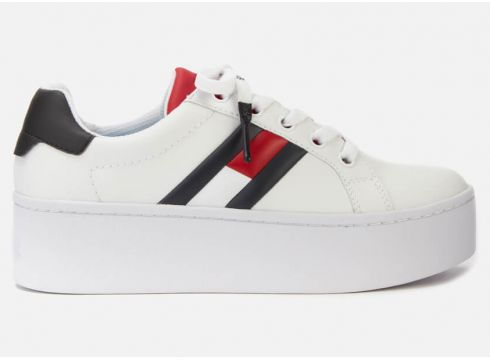 Tommy Jeans Women\'s Icon Leather Flatform Trainers - Red/White/Blue - UK 7 - Weiß(90301394)