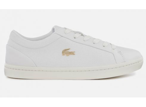 Lacoste Women\'s Straightset 119 2 Leather Cupsole Trainers - White/Off White - UK 3 - White/Cream(69928212)