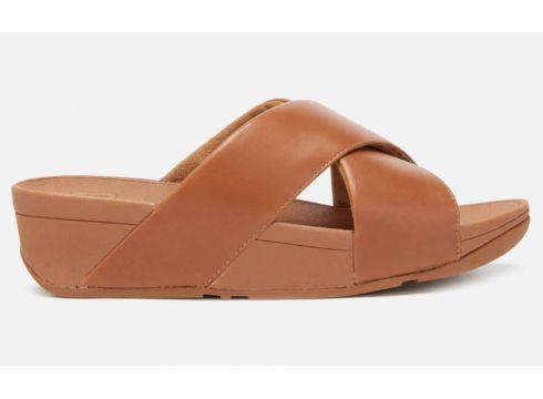 FitFlop Women\'s Lulu Leather Cross Slide Sandals - Caramel - UK 3 - Tan(79330328)