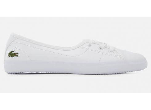 Lacoste Women\'s Ziane Chunky BL Leather 3-Eye Pumps - White/White - UK 3 - White/White(68699191)