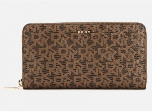 DKNY Women\'s Bryant Large Zip Around Purse - Mocha Logo(84128441)