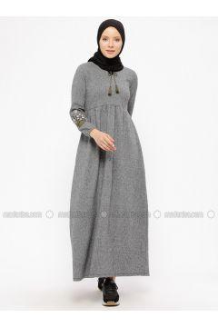 Gray - Stripe - V neck Collar - Unlined - Dresses - Dadali(110312957)