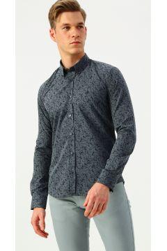 İgs Çiçek Desenli Lacivert Slim Fit Gömlek(125057263)