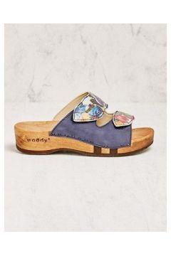 Woody Damen Pantoletten Neda blau Sandalen(108052658)