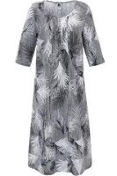 Kleid aus 100% Leinen Anna Aura schwarz/weiß(120925003)