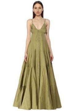 Jacquemus Kadın Manosque Yeşil V Yaka Maksi Tafta Elbise 38 FR(113464932)