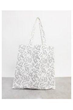 Monki - Maja - Maxi borsa in cotone organico bianca stampata-Bianco(122137250)