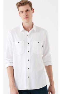 Mavi Çift Cepli Beyaz Gömlek(113997312)